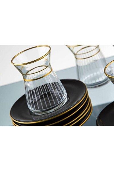 Delmon Kristal 12 Parça 6 Kişilik Lazer Kesim Günlük Çay Takımı & Seti
