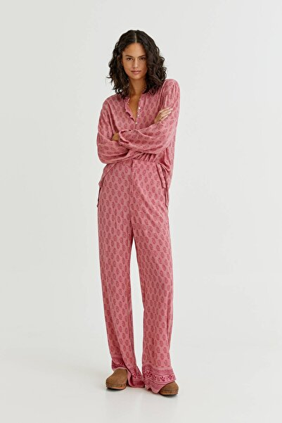 Pull & Bear Desenli Dökümlü Pantolon