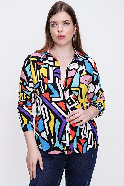 By Saygı Kadın Siyah Mix Grafik Desenli Büyük Beden Gömlek