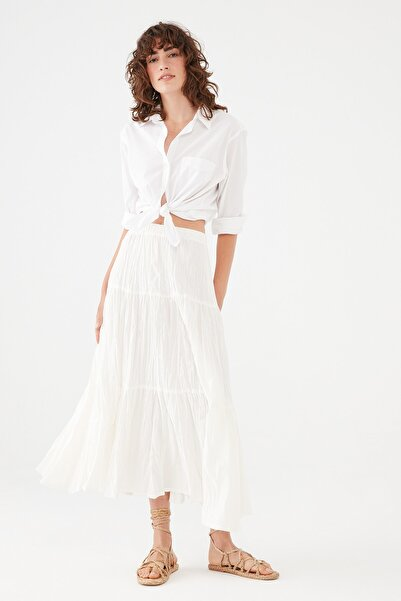 Mavi Kadın Beyaz Uzun Etek 131157-33389