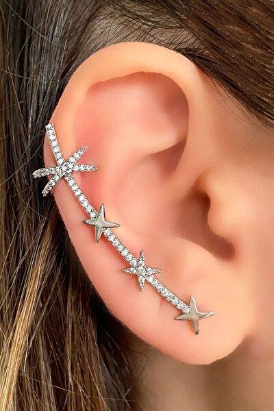 TAKIŞTIR Gümüş Renk Taşlı Kulak Aksesuarı (tek)
