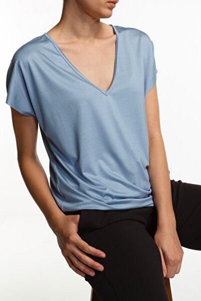 BASIC&CO Vogue Mavi V Yaka Basic T-shirt