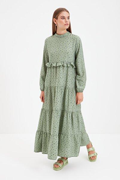 Trendyol Modest Yeşil Dik Yaka Puantiyeli Tesettür Elbise TCTSS21EB0053