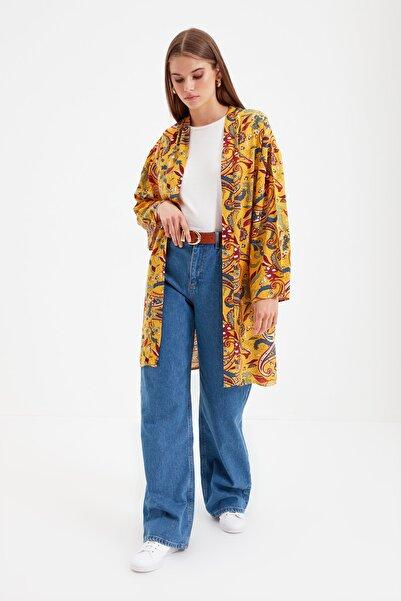 Trendyol Modest Sarı Baskılı Rahat Tesettür Kimono & Kaftan TCTSS21KK0004