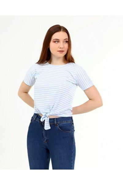 SHOPPİNG GO Mavi Beyaz Çizgili Bağlamalı Basic Tişört