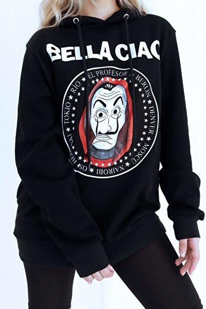 Mooncorn Unisex Siyah La Casa De Papel Baskılı Sweatshirt