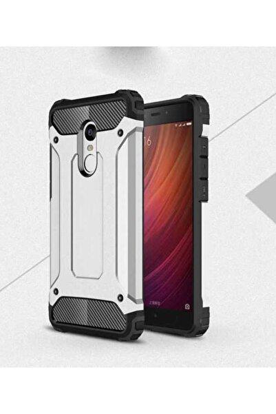 Xiaomi Redmi 5 Plus Kılıf Çift Katmanlı Ultra Koruma Zırh Tasarım Kapak Gümüş