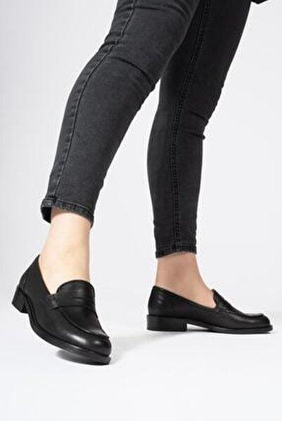 Hakiki Deri Kadın Günlük Bağcıksız Klasik Loafer Ayakkabı