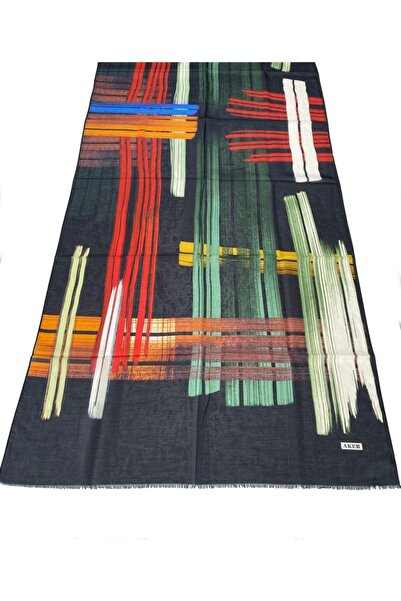 Aker Yaz Serinliği Ipek-pamuk Şal-siyah-yeşil-hardal-75x200 Cm