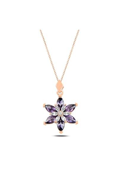 Silverella Gümüş 925 Ayar Lotus Çiçeği Ametist Zirkon Taşlı Kolye
