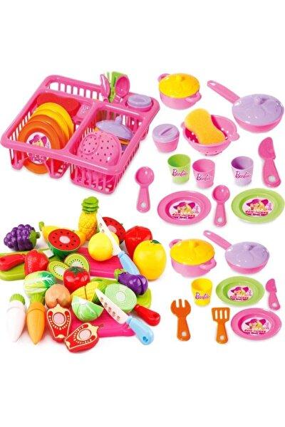 DEDE Barbie Oyuncak Bulaşıklık Tabak Tencere Set + 22 Parça Kesilebilen Oyuncak Meyve Sebze Set