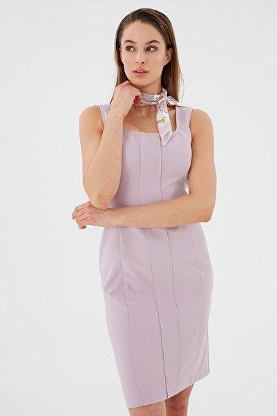 Chima Kadın Lila Kare Yaka Kalın Askılı Elbise