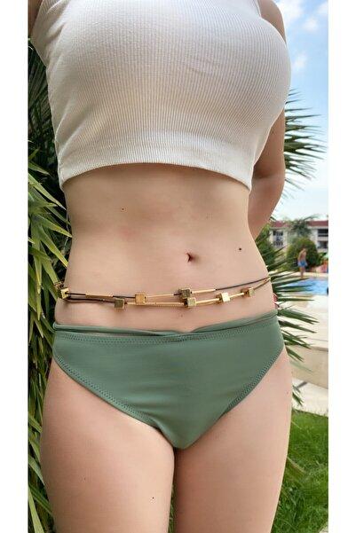 PİARTCOLLECTIONS Kadın El Yapımı Siyah Ve Gold Boncuklu Vücut Aksesuarı Bikini Ve Bel Zinciri