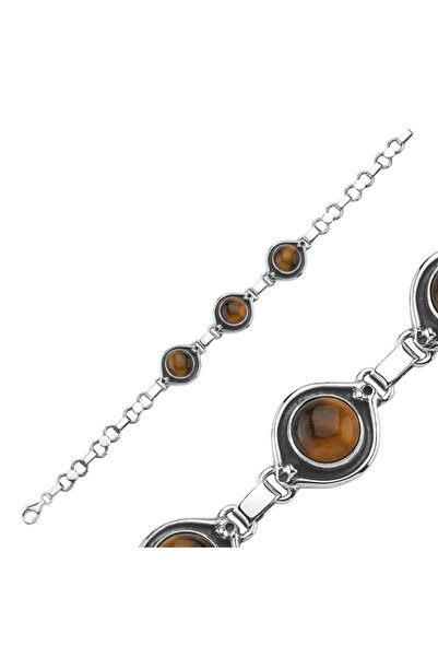 Silverella Gümüş 925 Ayar Kaplan Gözü Taşlı El İşi Bileklik
