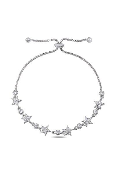 Silverella Gümüş 925 Ayar Zirkon Taşlı Yıldız Asansör Bileklik