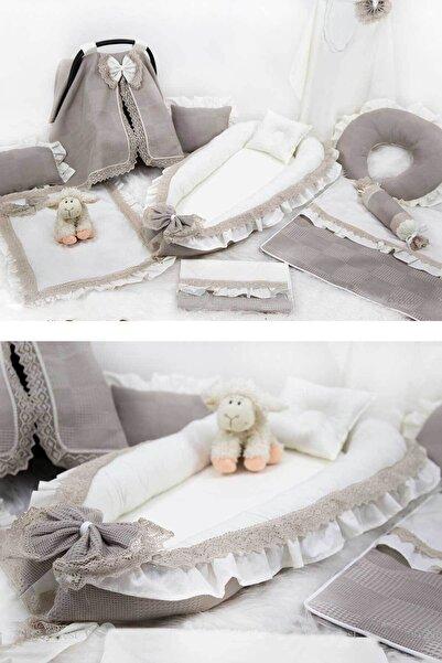 Babynest Full Özel Set Fırfırlı Pike Ve Dantelli Taş Rengi