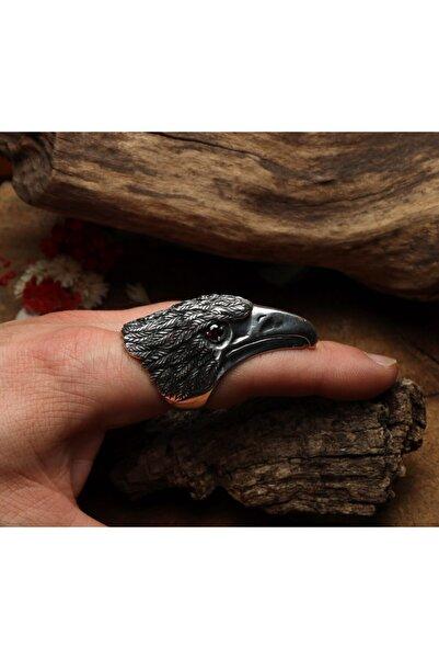 Sima Silver Gümüş Tasarım Oksitli Kartal Başı Figürlü Garnet Taşlı Okçu Zihgir Otantik Erkek Yüzük