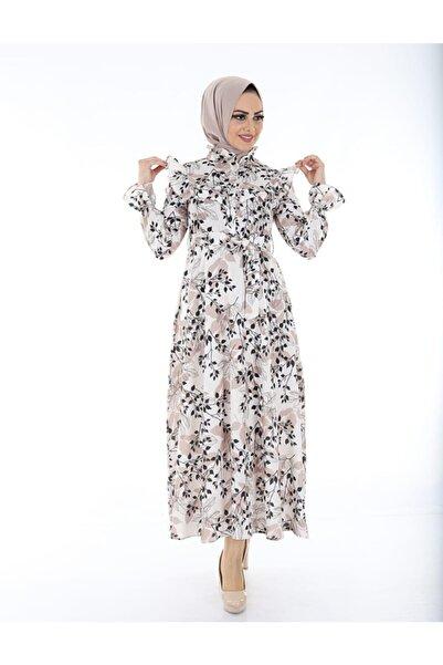 TMR Kadın Içi Astarlı Çiçekli Şık Tesettür Elbise