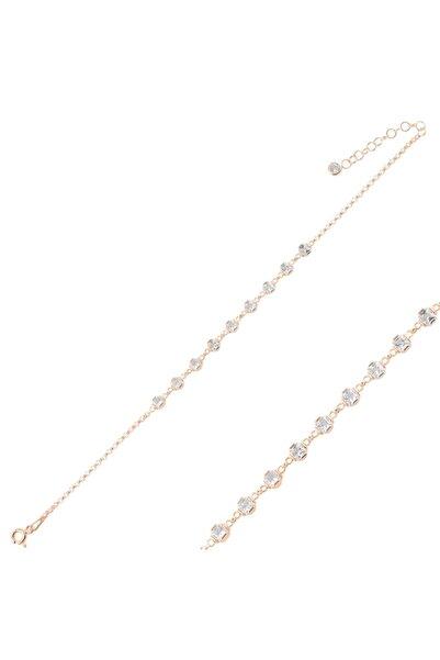 Silverella Gümüş 925 Ayar Kare Zirkon Taşlı Doç Zincirli Bileklik