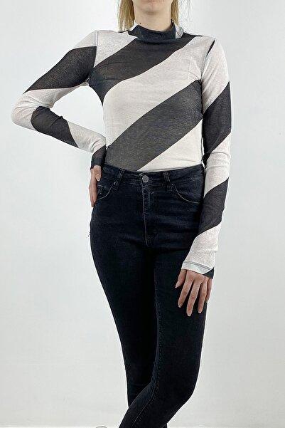 Meylux Kadın Siyah Tül Transparan Bluz
