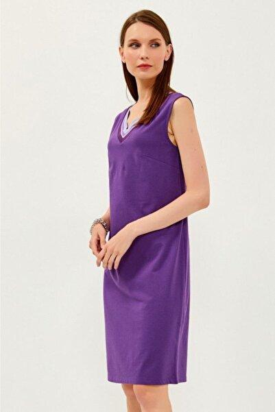 İKİLER V Yaka Yakası Simli Bantlı Kolsuz Elbise 021-2520