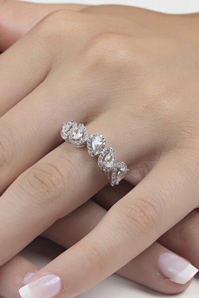 Şenart Jewelery 14 Ayar Beyaz Altın Pırlanta Montür Damla Taşlı Beştaş