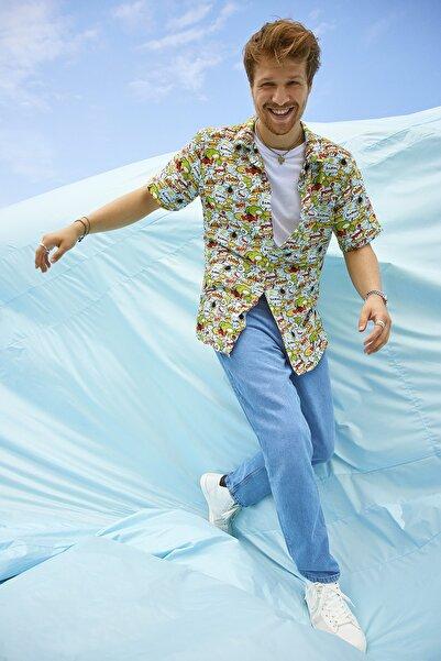 TRENDYOL MAN Mavi Erkek Straight Fit Jeans TMNSS21JE0546