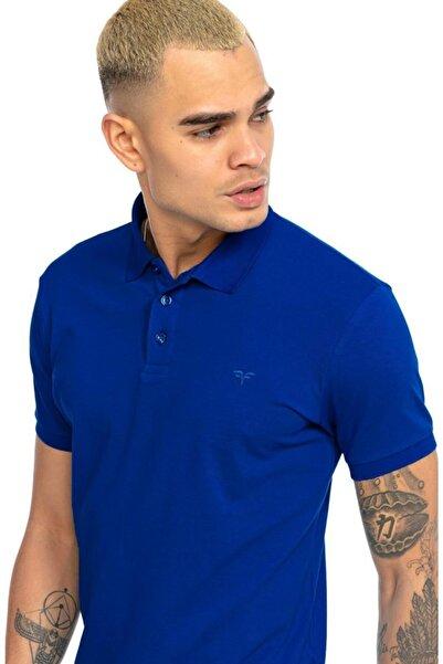 Fabregas Koyu Saks Slim Fit Polo Yaka T-shirt