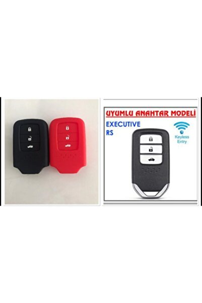 Honda 2 Adet Civic Fc5 Crv Hrv Sustasız Silikon Anahtar Kılıfı Kırmızı Ve Siyah