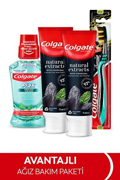 Colgate Natural Extracs Diş Macunu 75 ml x 2,  Zig Zag Orta Diş Fırçası, Plax Ağız Bakım Suyu 250 ml