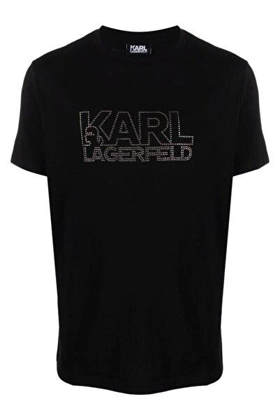 Karl Lagerfeld Diamond Logo Baskı Siyah T-shirt