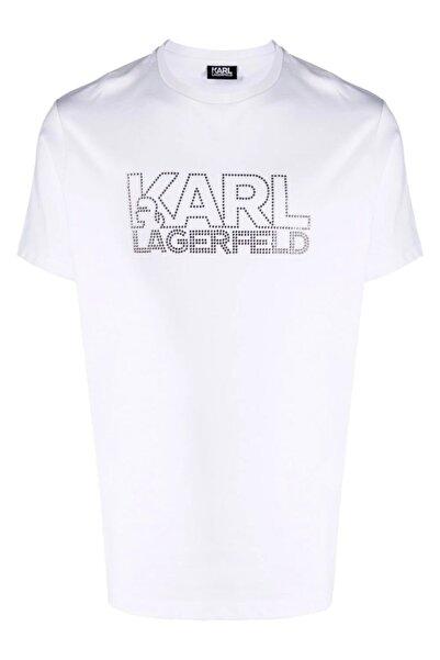 Karl Lagerfeld Diamond Logo Baskı Beyaz T-shirt