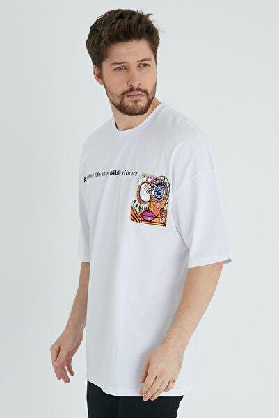 BREEZY Unisex Oversize Baskılı Beyaz Tshirt A Colorful