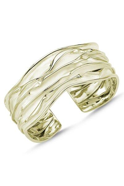 Silverella Gümüş 925 Ayar Altın Kaplama Altı Açık Buruşuk Bilezik