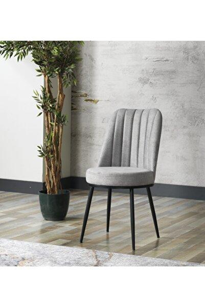 AVVİO Gold Sandalye- Yemek Masası Sandalyesi - Mutfak Masası Sandalyesi Gri Renk- Metal Siyah Ayak