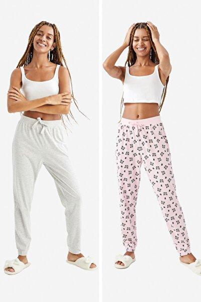 DeFacto Kadın Pembe Relax Fit Desenli Pamuklu 2'Li Pijama Altı V2866AZ21HS