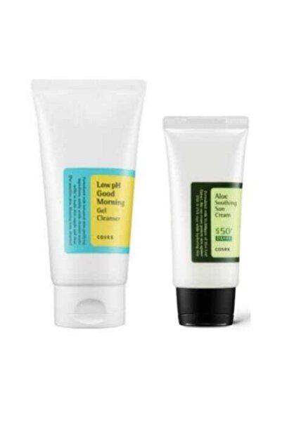 Cosrx Aloe Soothing Sun Cream Spf50 Pa+++ + Low Ph Good Morning Gel Clean