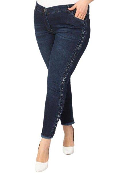 Hanezza Büyük Beden Kadın Taş Detaylı Yüksek Bel Slim Fit Paça Püsküllü Likralı Kot Pantolon