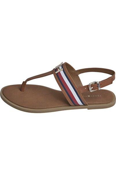 Tommy Hilfiger Corporate Leather Flat Sandalet