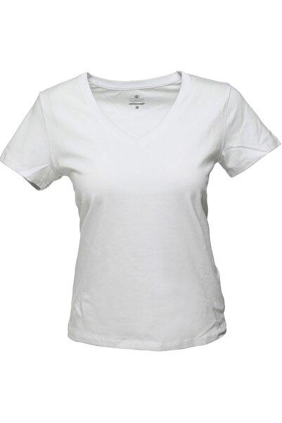lumberjack CT130 BASIC V NECK T-SHIR Beyaz Kadın T-Shirt 100581833