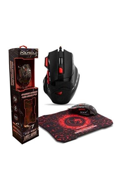 POLYGOLD X7 Işıklı Oyuncu Mouse Mousepad Kırmızı