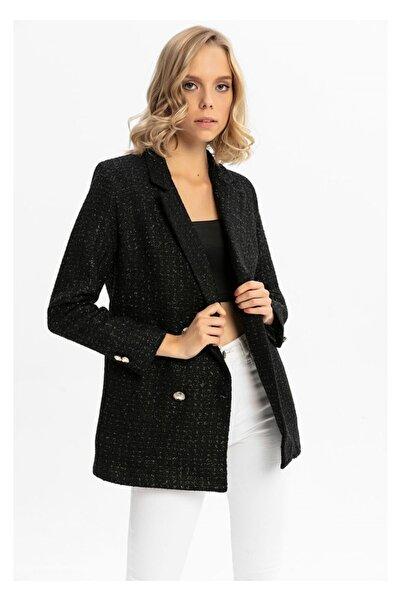 TIFFANY&TOMATO Düğme Detay Simli Ceket-siyah