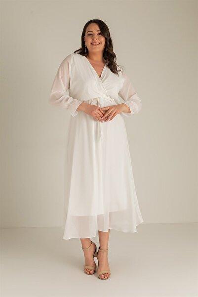 Denzfashion Kadın  Büyük Beden Uzun Şifon Elbise