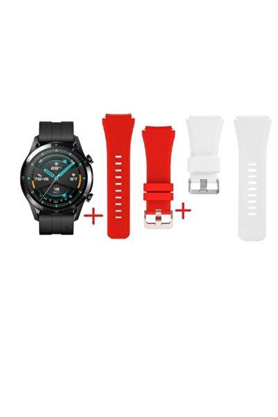 PAROCS Huawei Watch Gt 2 Sport (46mm) Siyah Renk Akıllı Saat Ve Beyaz,kırmızı Kordon Beraber