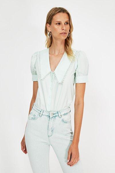 TRENDYOLMİLLA Mint Petite Yaka Detaylı Gömlek TWOSS21GO0873