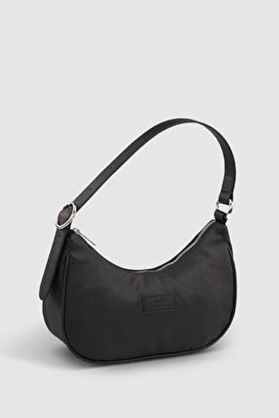 Kadın Tokalı Siyah Baguette Çanta 207