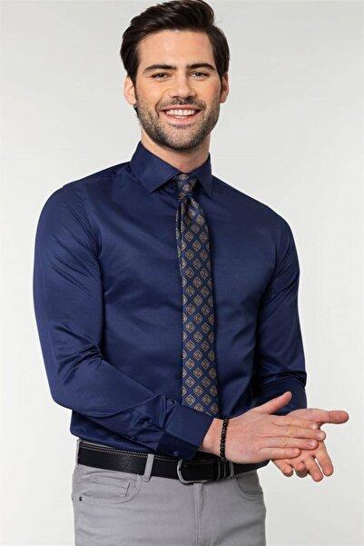 Tudors Slim Fit Düz Lacivert Erkek Gömlek