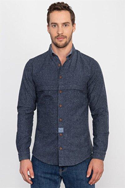 Tudors Slim Fit Kışlık Mavi Unisex Gömlek