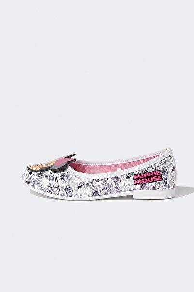 DeFacto Kız Çocuk Beyaz Minnie Mouse Lisanslı Babet Ayakkabı