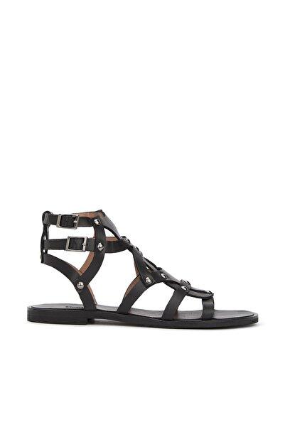 Network Kadın Siyah Troklu Deri Sandalet 1079756